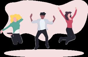illustration, tre figurer som hoppar