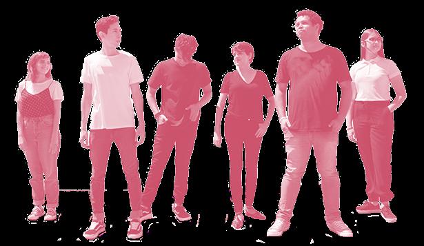 Grupp med ungdomar som står på rad